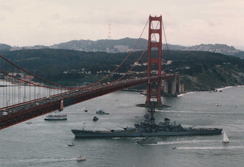 U.S.S. Missouri, BB-63, from Golden Gate Inlet Enters  San Francisco Bay